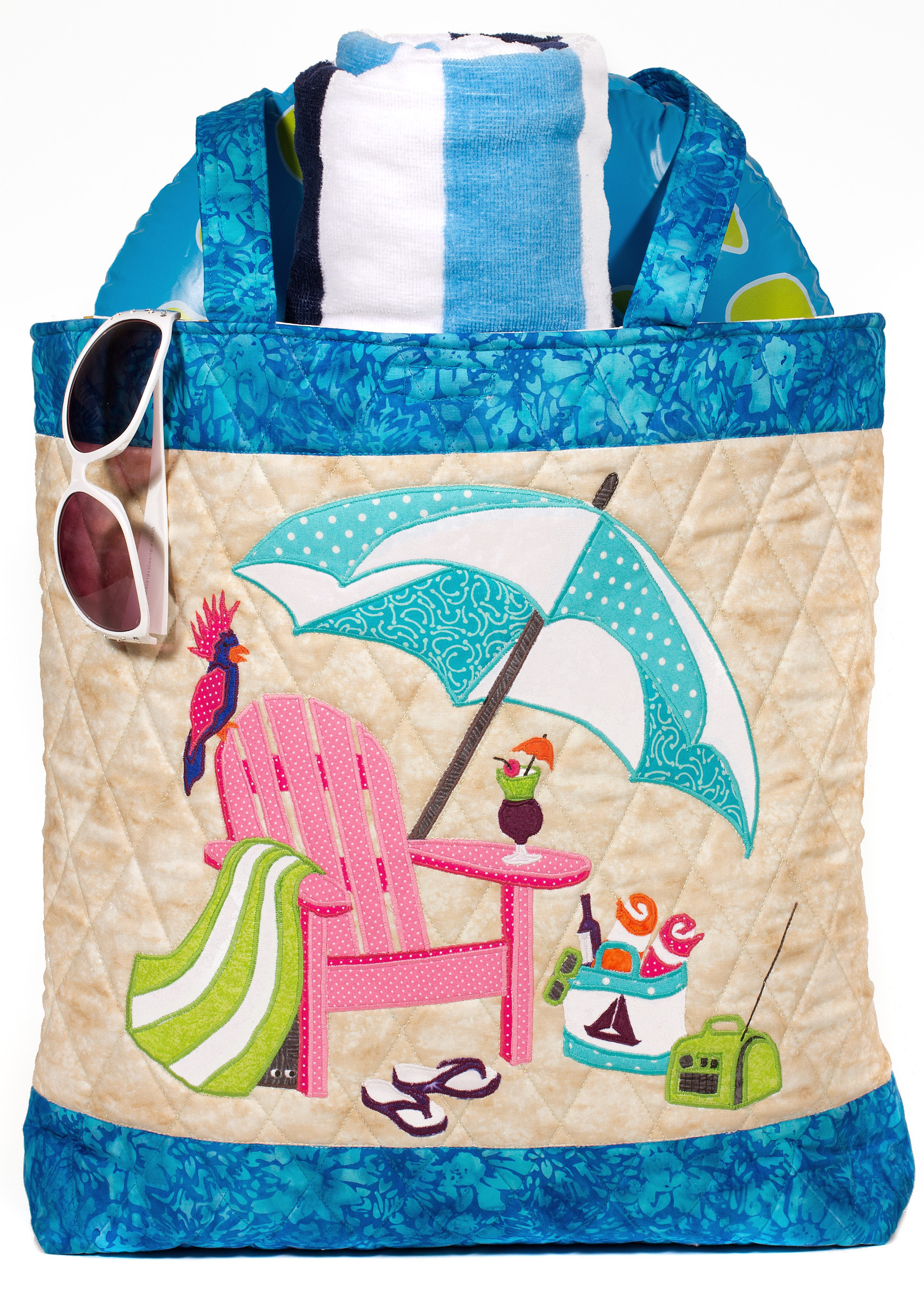 My beach bag sweet season quilts plus this is a 2 in 1 pattern follow the directions for making the bag or choose to make the 20 x 20 wall hanging of the beach chair jeuxipadfo Gallery